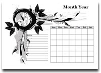 monthly calendar with notes - landscape