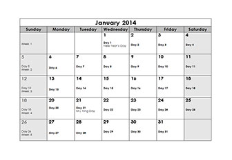 2012 Monthly Julian Calendar