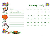 2014 monthly holiday calendar