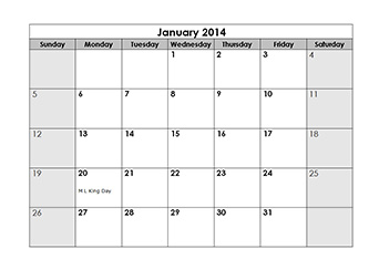2014 yearly calendar with us holidays
