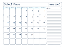 monthly school template with day boxes