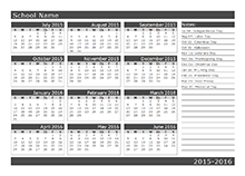 Yearly School Calendar starts from sunday 08