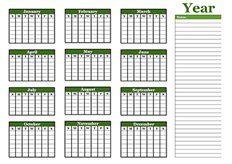 yearly school calendar template