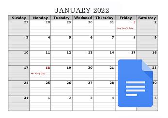 2021 Google Docs Calendar