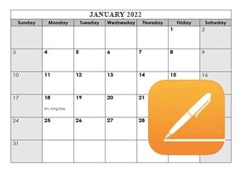 2021 Apple Pages Calendar