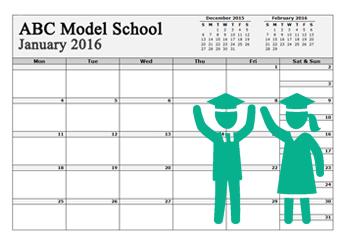 2021 School Calendar with us holidays
