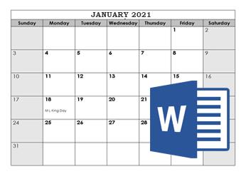 2021 Microsoft Word Calendar