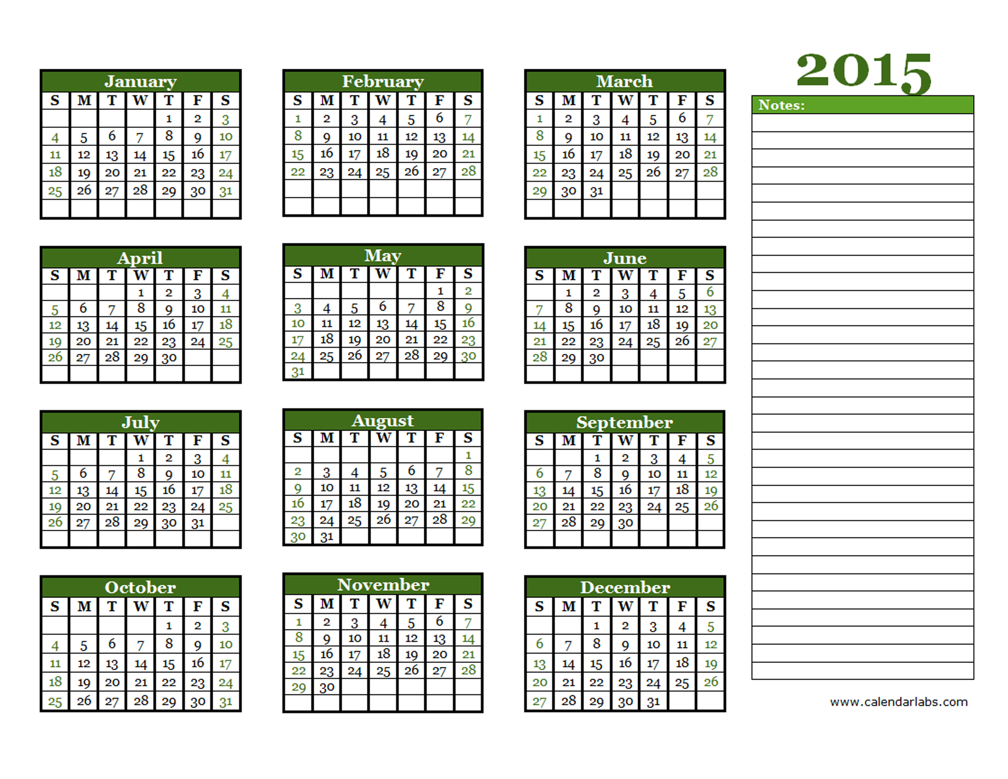 2015 yearly calendar free printable templates for 2015 yearly calendar template in landscape format