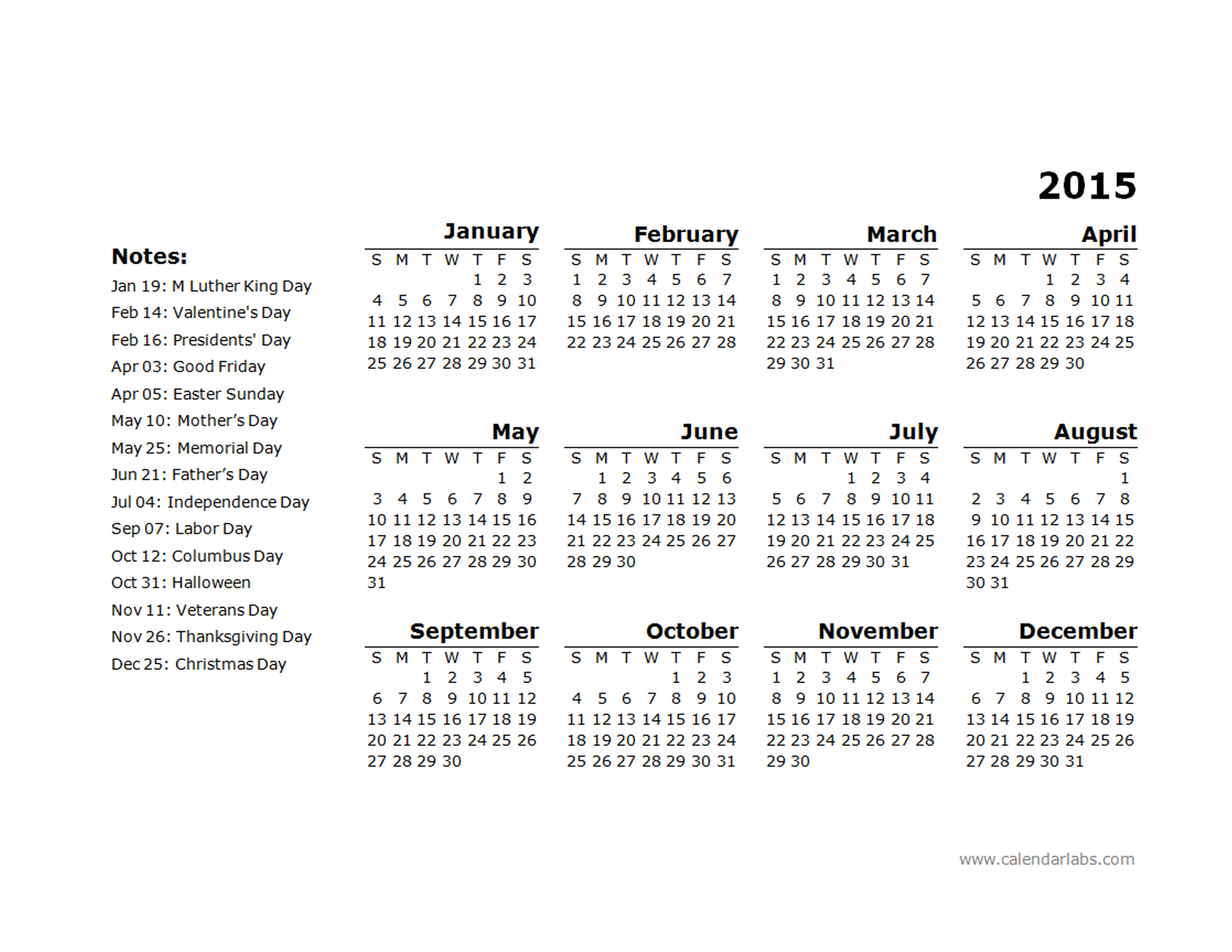 2015 yearly calendar template 11 free printable templates for 2015 yearly calendar template in landscape format