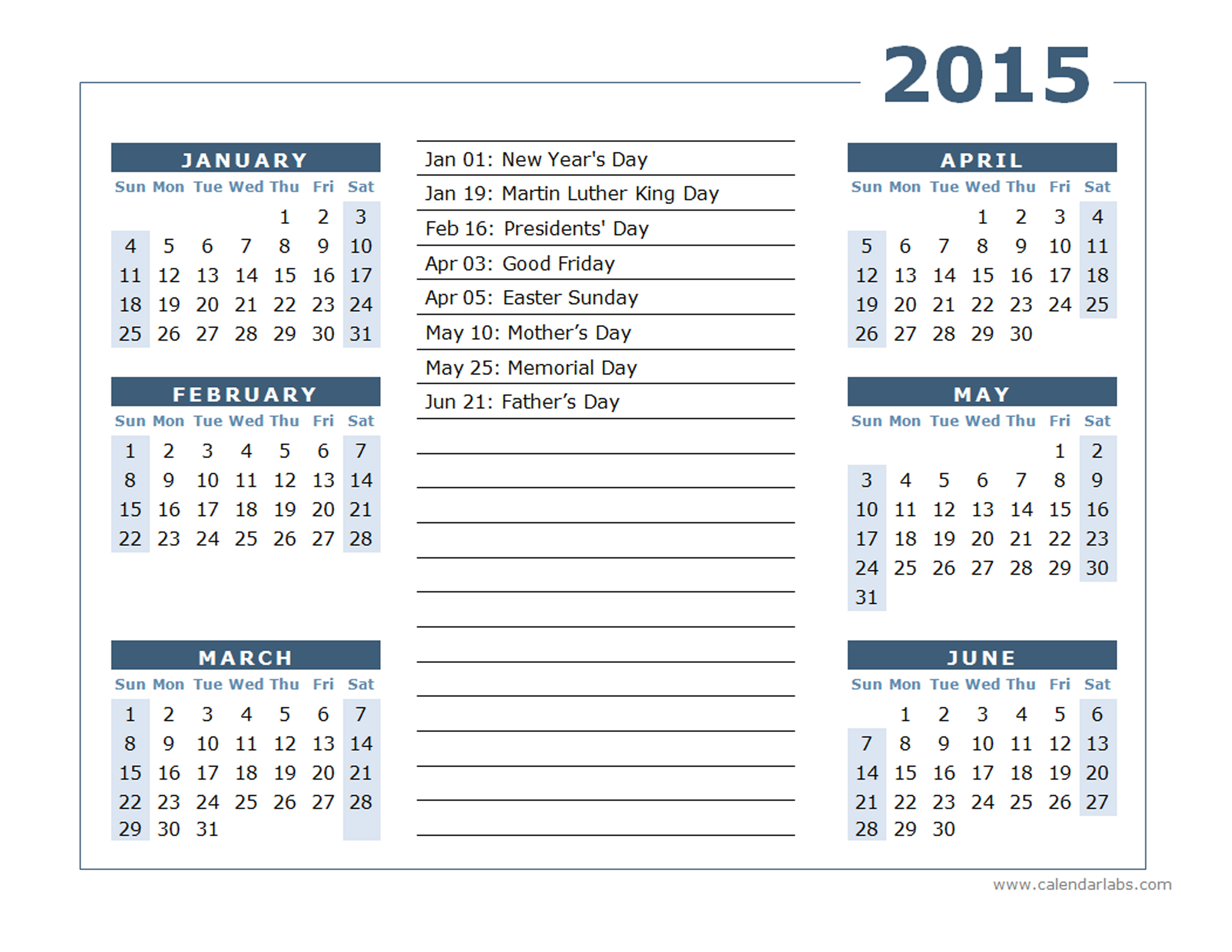 2015 yearly calendar template with holidays
