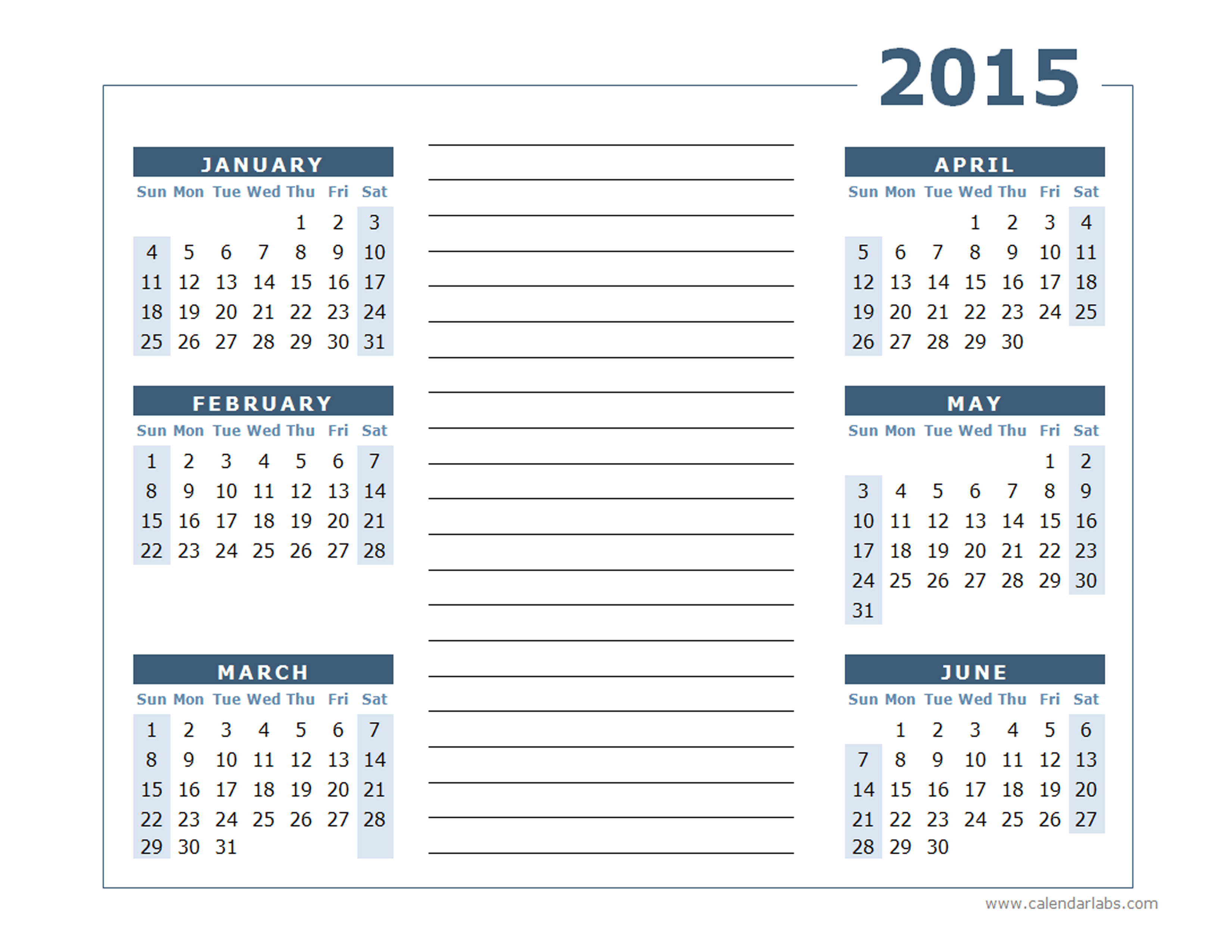 2015 yearly calendar two page