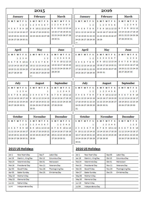 2015 two year calendar free printable templates