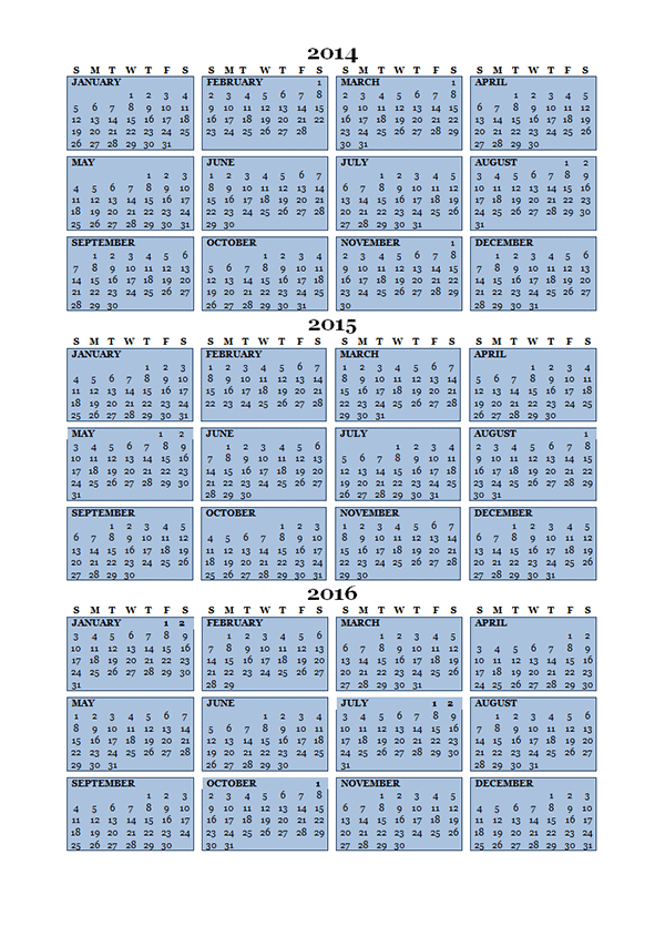 2015 Three Year Calendar - Free Printable Templates