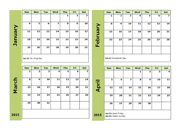 2015 monthly calendar template for word - 2015 four monthly calendar template free printable templates