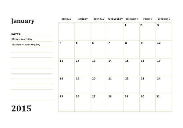 2015 Monthly Calendar Template 03 - Free Printable Templates