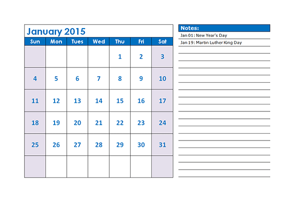 Free Calendar Template Download