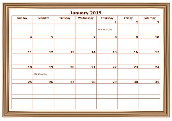 2015 Monthly Calendar Template 02 Free Printable Templates – Word Template Calendar 2015