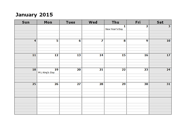 2015 Monthly Calendar - Free Printable Templates
