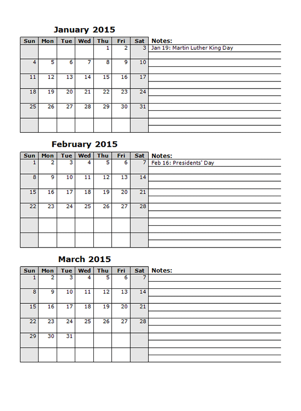 2015 Monthly Calendar Template 13 - Free Printable Templates