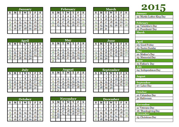 View Calendar: 2015 Yearly Calendar Template 06