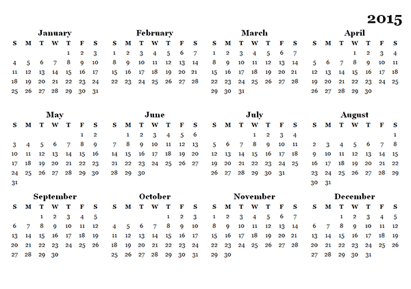 2015 Yearly Calendar - Free Printable Templates
