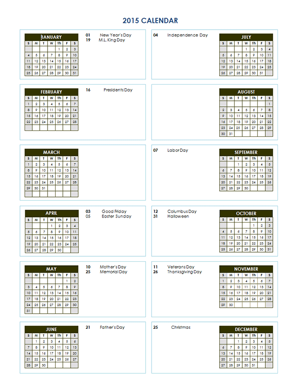 View Calendar: 2015 Yearly Calendar Template 02