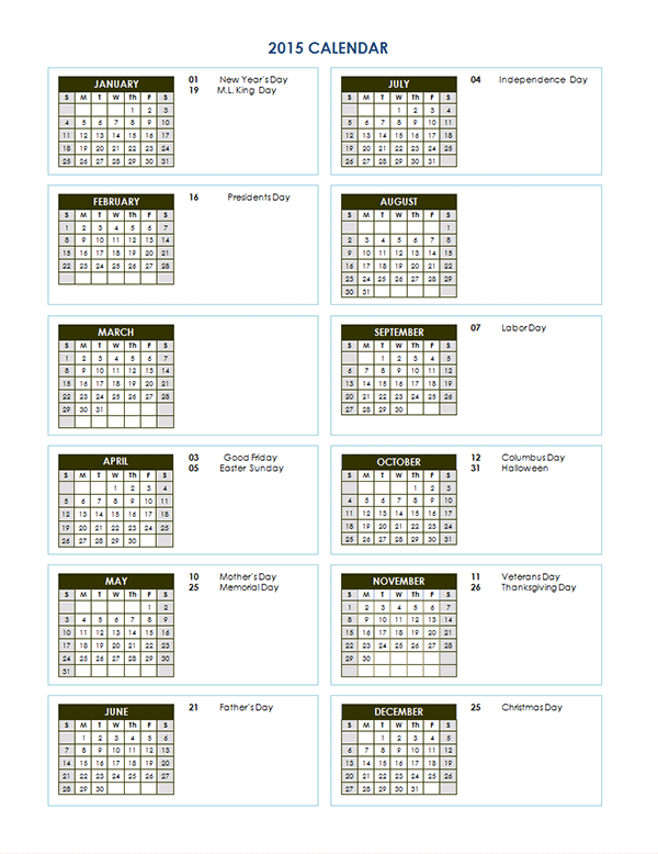 2015 Yearly Calendar Template 03 Free Printable Templates