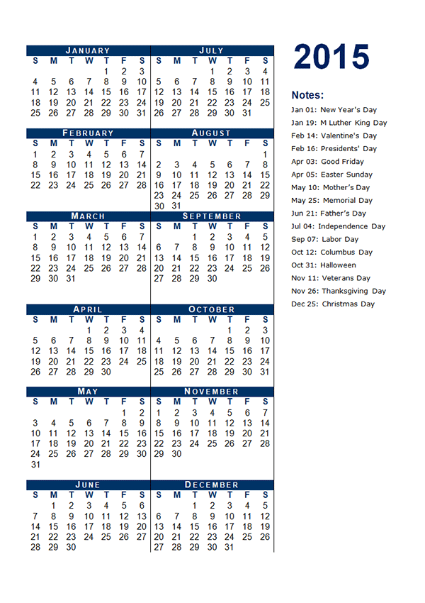 2015 yearly calendar template 12