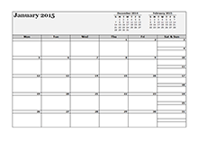 2015 3 month calendar