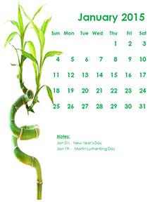 calendars monthly 2015