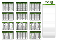 2015 yearly calendar landscape