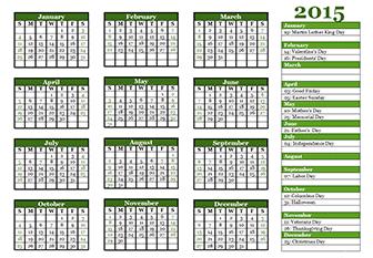 2015 yearly calendar