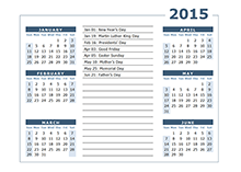 2015 yearly calendar with usa holidays