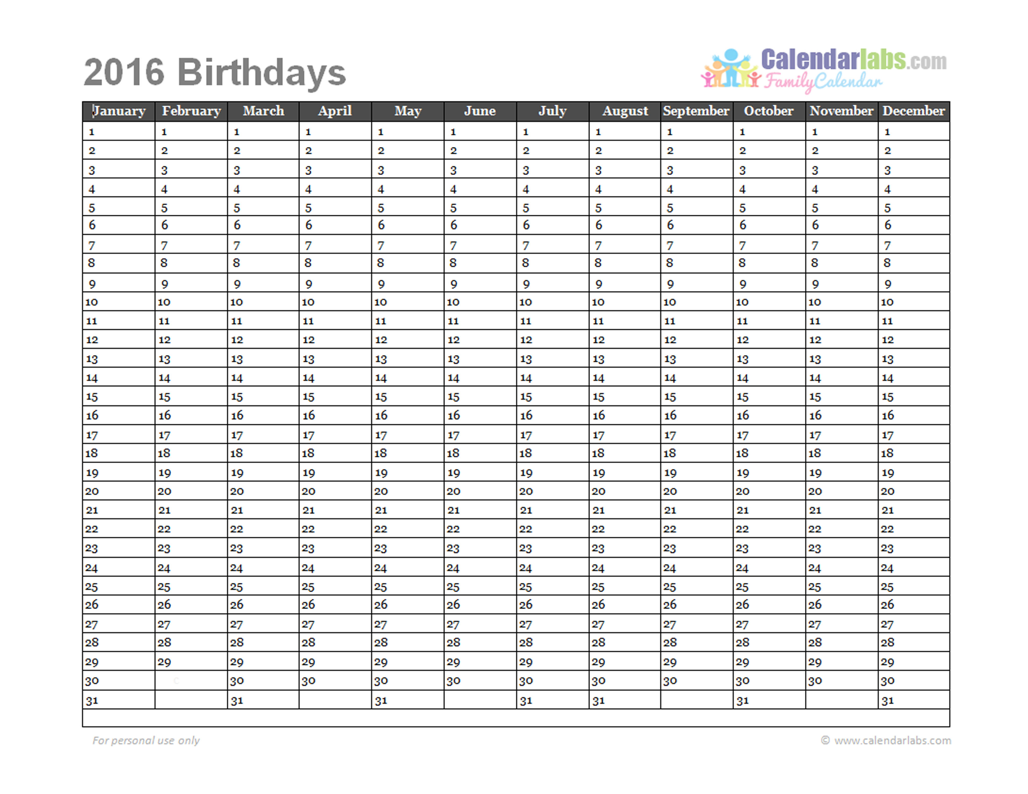 2016 birthday calendar template