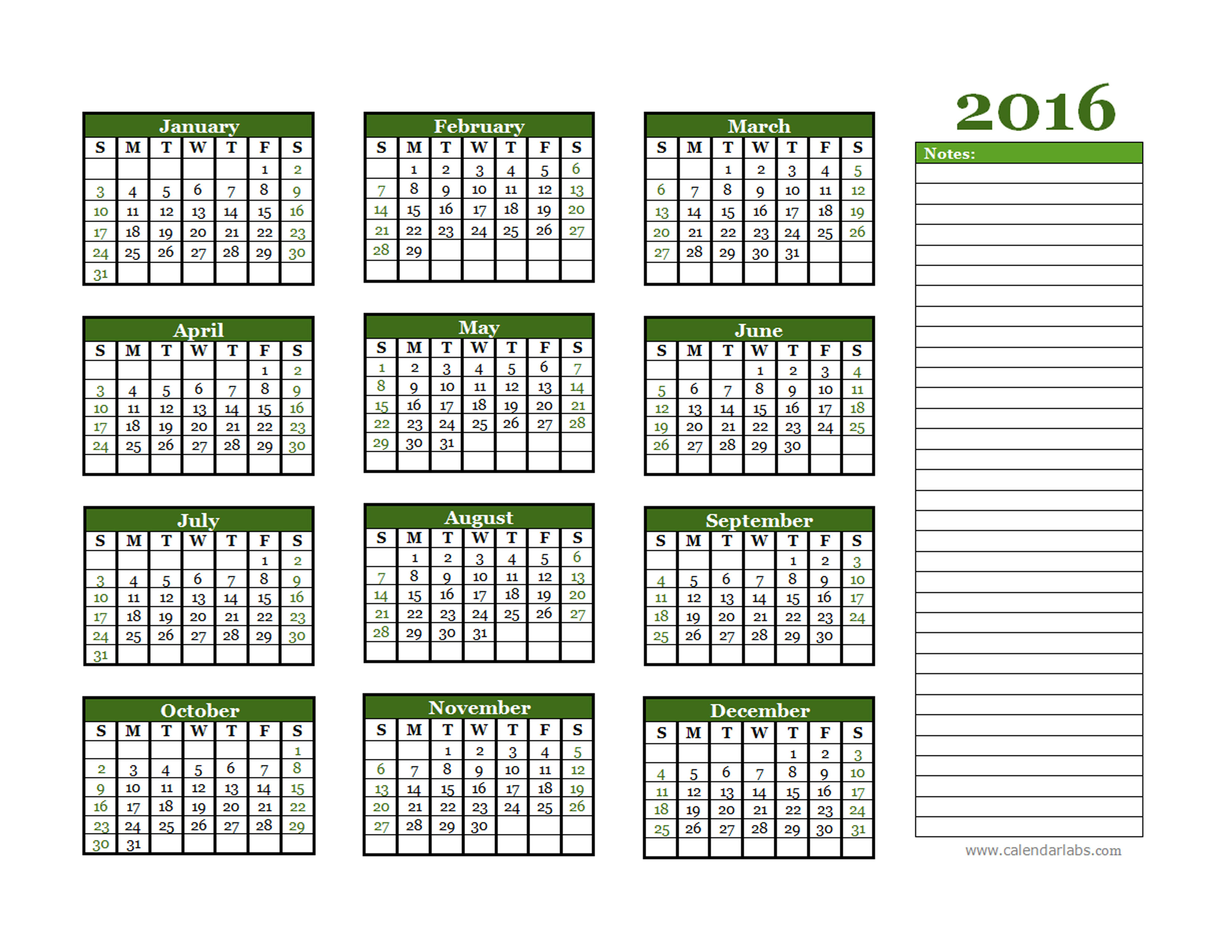 Calendar Labs For 2016 Yearly Calendar | Calendar Template 2016