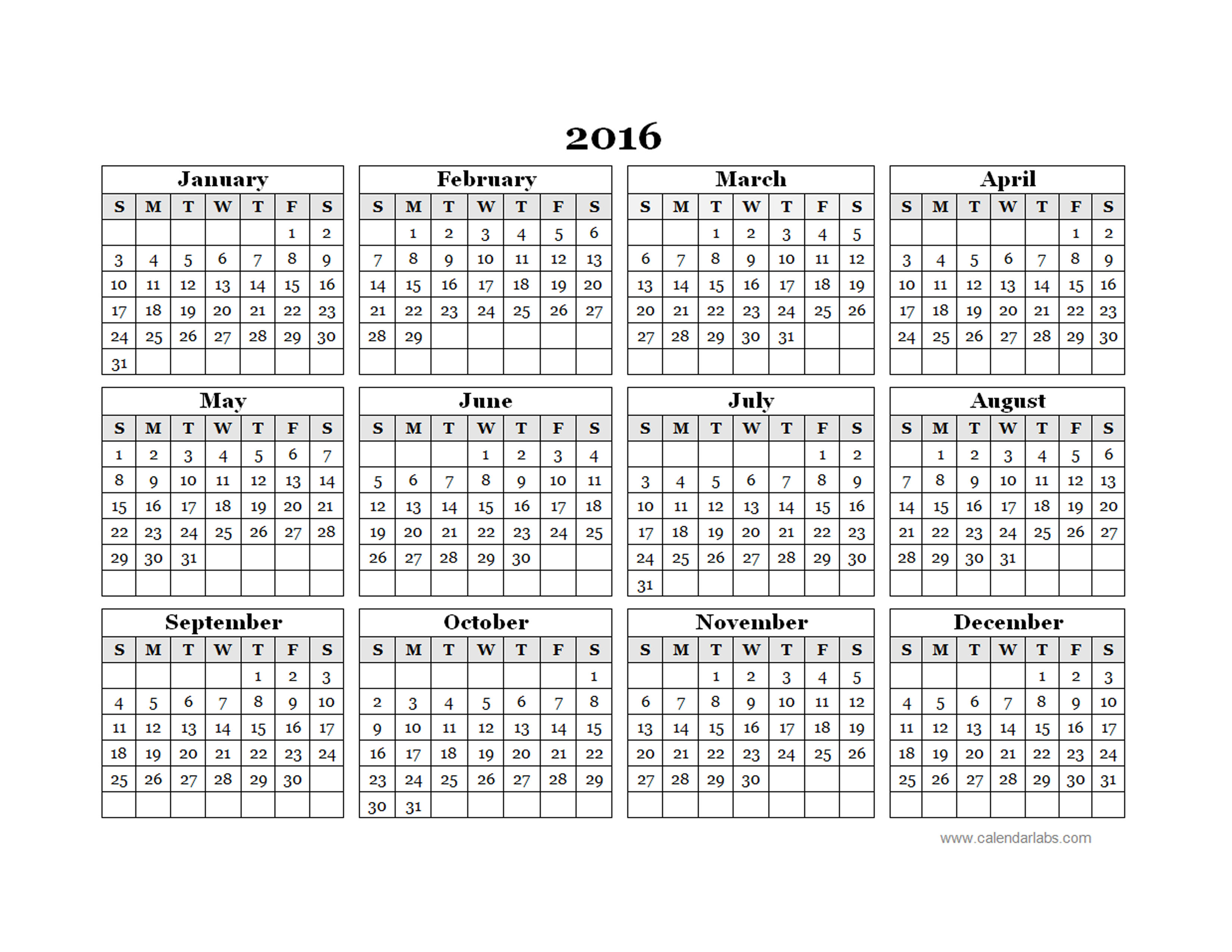 2016 yearly calendar template 09 free printable templates