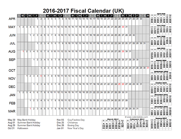 2016 Fiscal Year Calendar UK 01 - Free Printable Templates