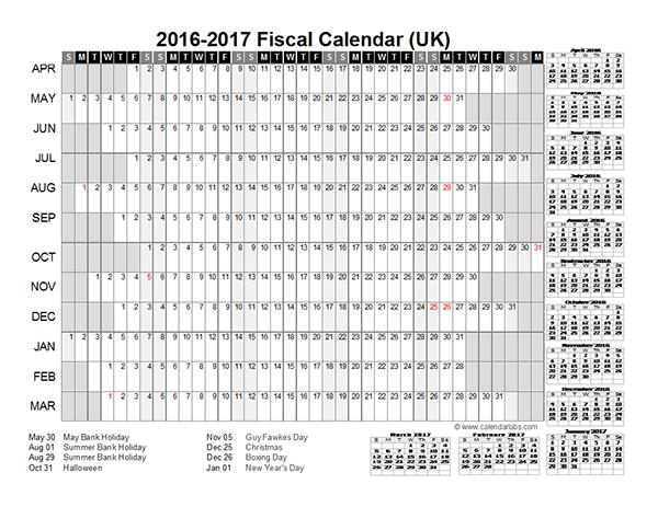 2016 Fiscal Year Calendar UK 01 - Free Printable Templates