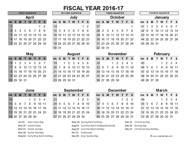 2016 Fiscal Year Calendar UK 02 - Free Printable Templates