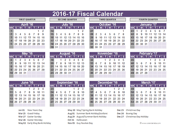 2016 Fiscal Year Calendar UK 03 - Free Printable Templates