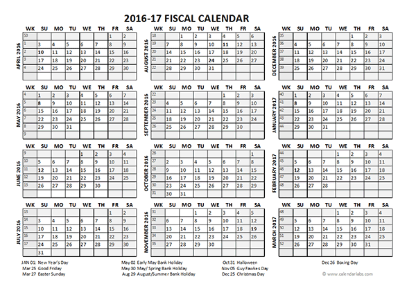 2016 Fiscal Year Calendar UK 04 - Free Printable Templates