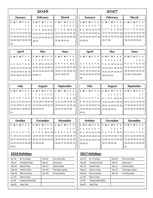 2016 two year calendar free printable templates