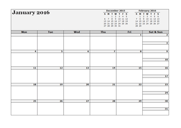 monthly calendar in excel