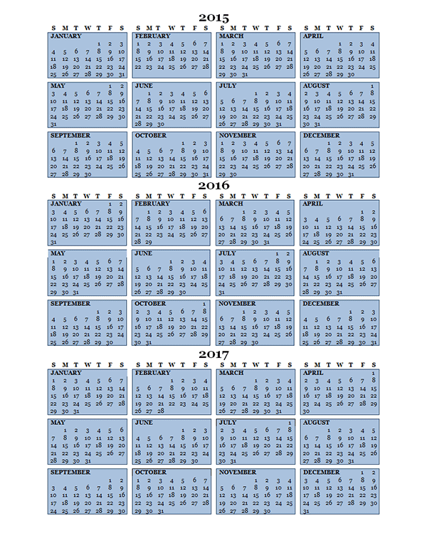 2016 three year calendar free printable templates for 3 day calendar template