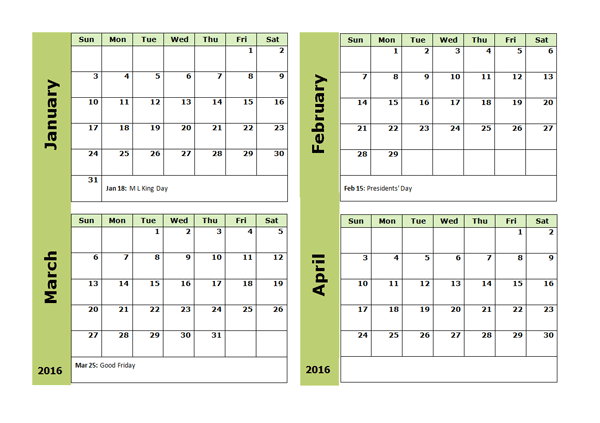 2016 Four Monthly Calendar Template
