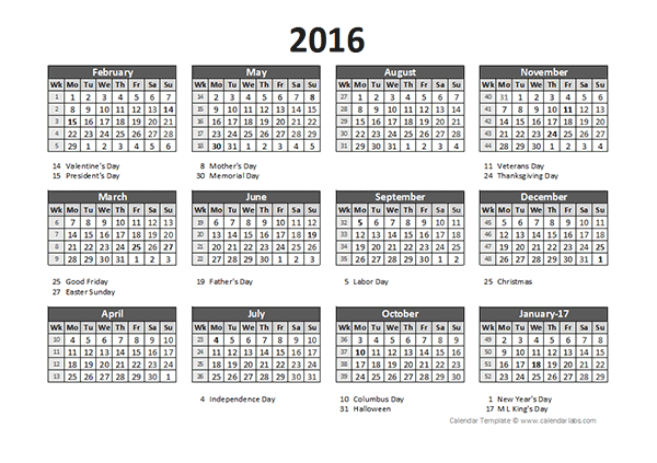 2016 accounting calendar 5 4 4 free printable templates