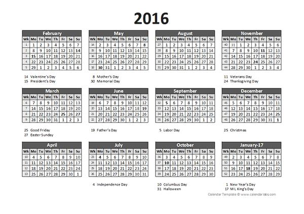 2016 Accounting Calendar 5-4-4 - Free Printable Templates