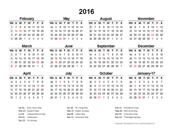 2016 Accounting Period Calendar 4-4-5 - Free Printable Templates
