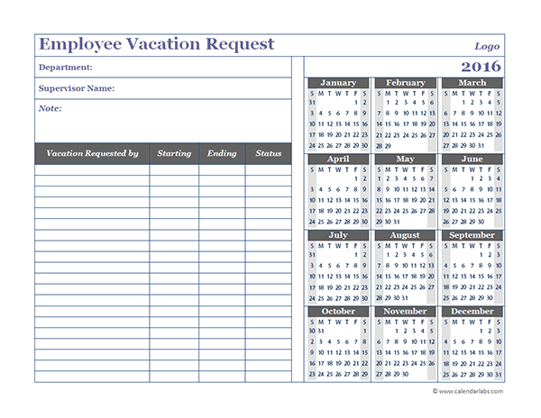 2016 Business Employee Vacation Request - Free Printable Templates