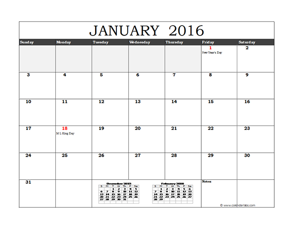 2016 Free Printable Calendars - Easy-to-print - Waterproof Paper